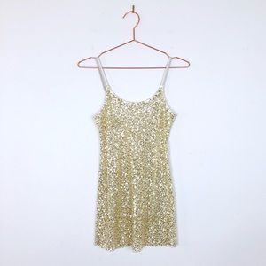 [Free People] Intimately FP Gold Sequin Tank Dress